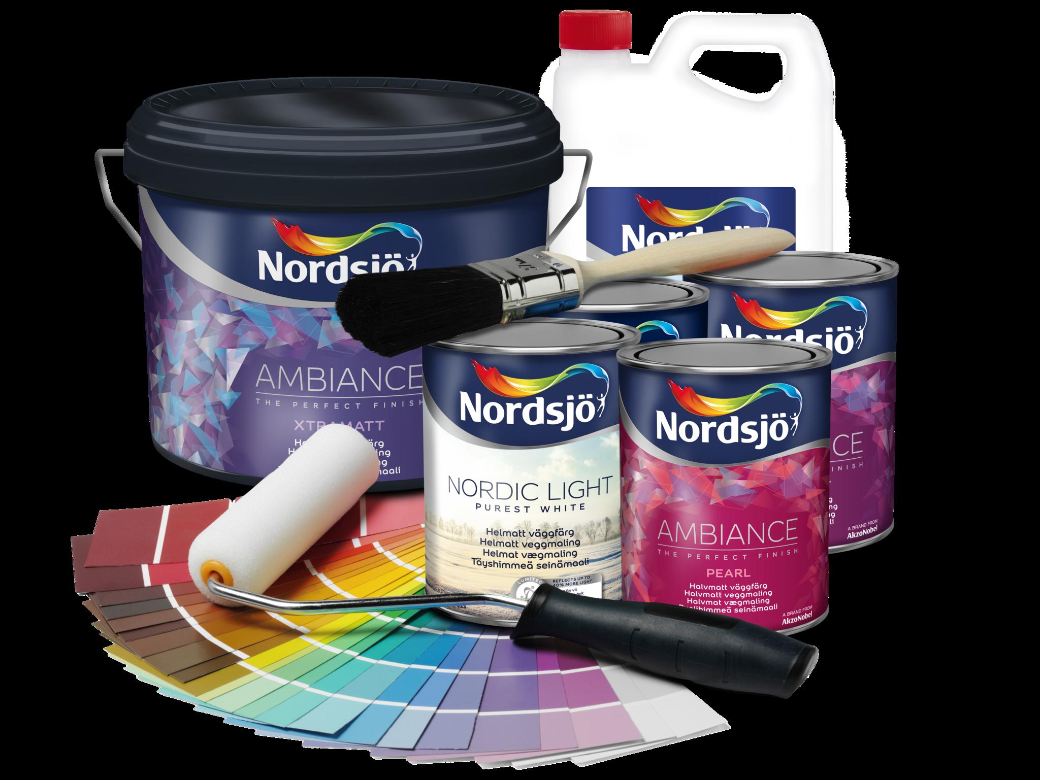färgburkar nordsjö inomhusfärg ambiance pensel